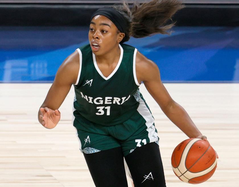 Nigeria's Erica Ogwumike handles the ball.