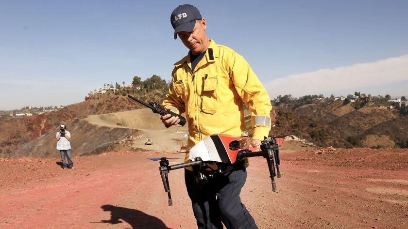 LOS ANGELES, CA – DECEMBER 14, 2017: LAFD Firefighter/ UAS Remote Pilot, David Danielson, recovers