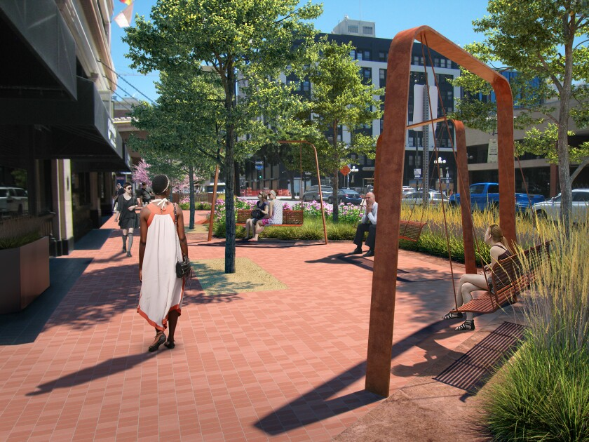 Rendering of a portion of E Street Greenway.