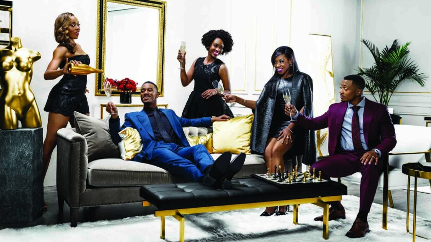 """Erica Ash, from left, Jessie T. Usher, Teyonah Parris, Tichina Arnold and RonReaco Lee are stars of """"Survivor's Remorse."""""""