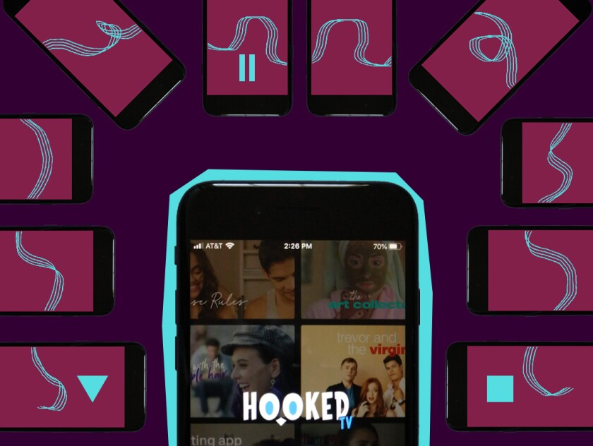 Mobile phone displaying the Hooked TV app.