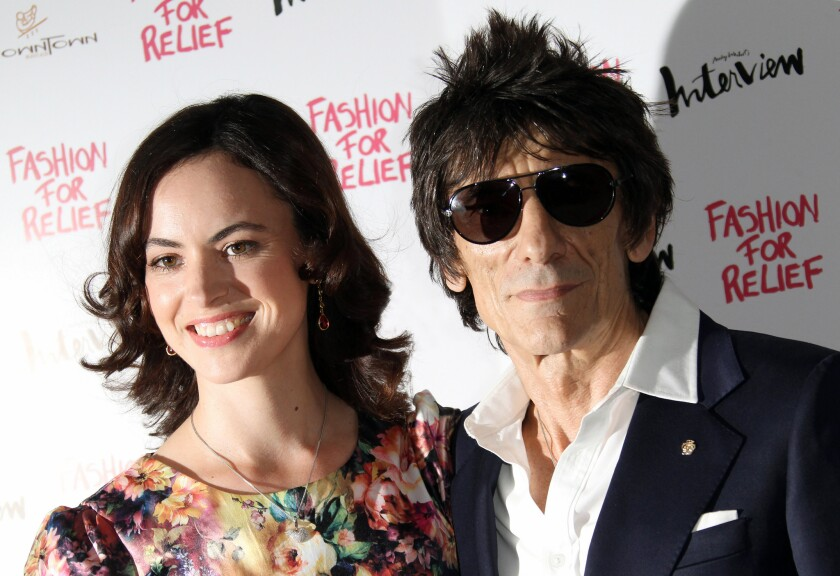 Ronnie Wood and Sally Humphreys in 2012