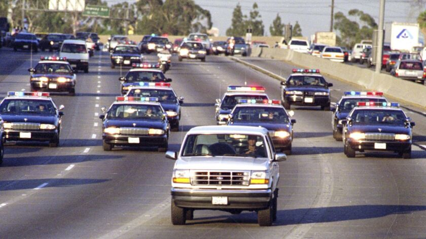 Caption:_ME.CHASE.8.0617.AS––BUENA PARK––California Highway _Patrol chase Al Cowlings, driving, and