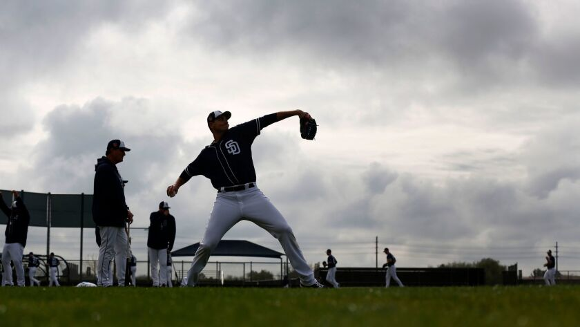 Padres pitcher Chris Young throws during a spring training practice.