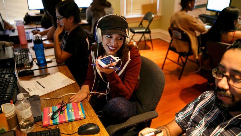 LOS ANGELES, CALIF. -- THURSDAY, NOVEMBER 3, 2016: Violet Rose Noriz, center, jokes with Sam Rodrigu