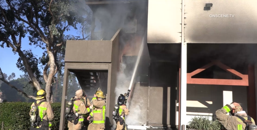 A fire damaged three units at an apartment complex in El Cajon on Sunday morning.