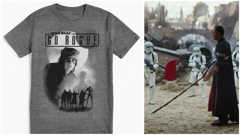 "A look at a Force 4 Fashion T-shirt, left, and a scene from the new film ""Rogue One: A Star Wars Story."""