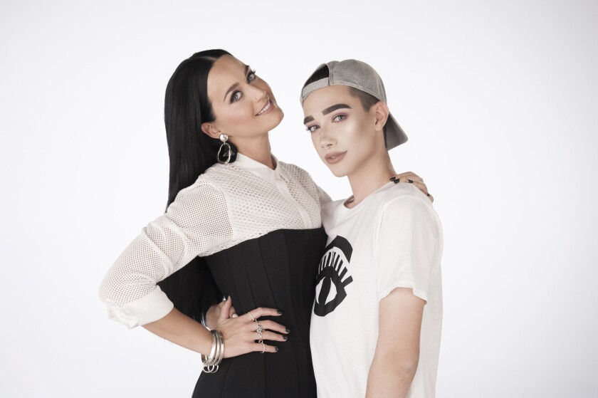 CoverGirl spokesmodels Katy Perry and James Charles.