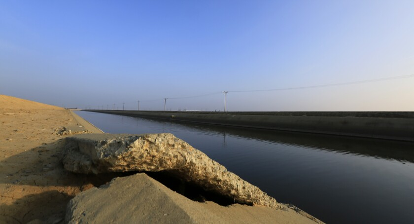 Many of the groundwater basins in the San Joaquin Valley are stressed, according to a new state report. Above, cracked concrete on the Delta Mendota Canal near Los Banos, where the land is sinking.