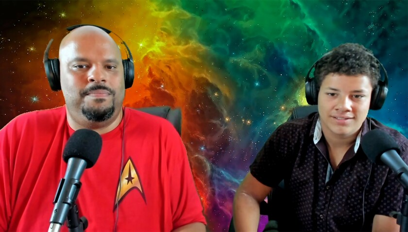 "Jefferson Kelley and his son record the ""Beyond Trek"" podcast."