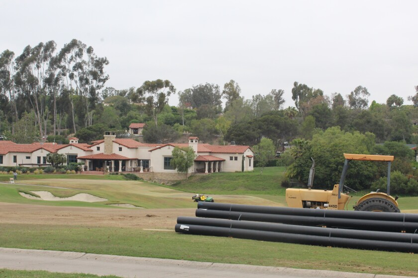 The Rancho Santa Fe Golf Club course renovation is underway in front of the Players Clubhouse.