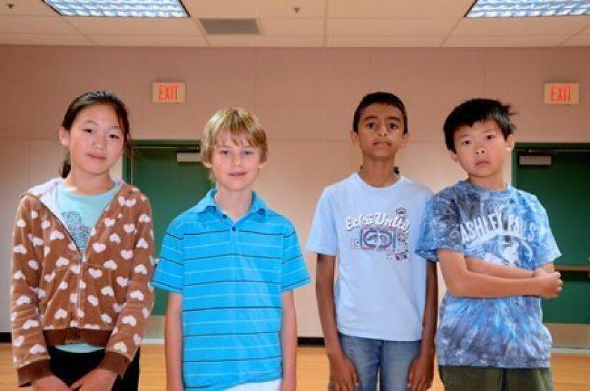 Ashley Falls Fifth Grade Math Team: Left to right: Caroline Bao, John Atwood, Vikram Duvvur, Allen Huang. Not pictured: Jerry Qu.