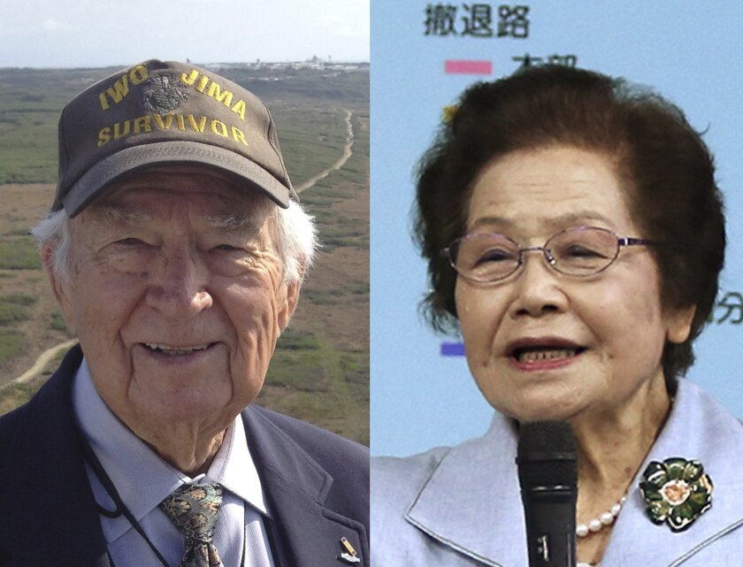 This combination of photos shows Norman Baker, left, of Delaplane, Va. in Iwo Jima on March 21, 2015 and Yoshiko Shimabukuro, a former member of the Himeyuri Student Nurse Corps, in Itoman, Japan, on March 22, 2015. In Baker's mind, the Japanese were fanatical, brutal animals with no respect for li