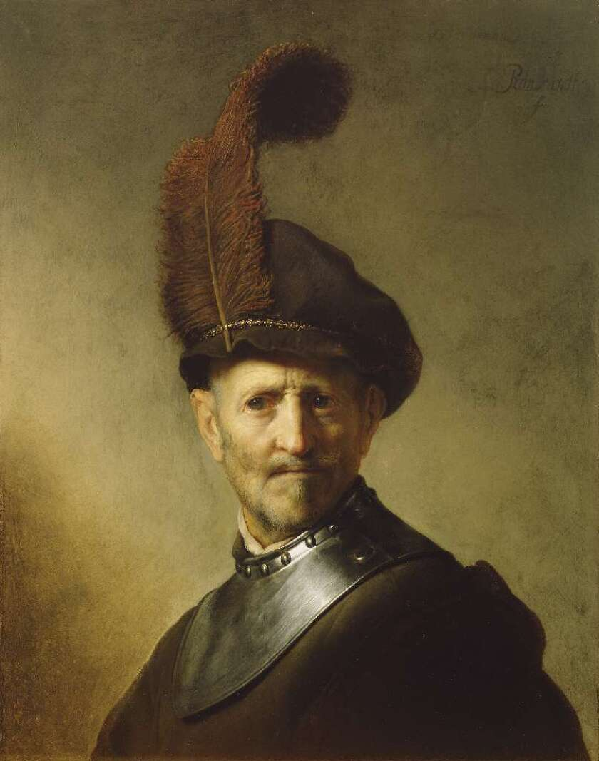 "Rembrandt's ""An Old Man in Military Costume"" hangs at the Getty Museum, which has been trying to learn more about the portrait of a much younger man that's hidden beneath it. A new study using advanced X-ray technology gives a clearer picture of the hidden picture."