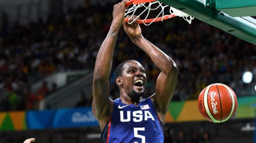 U.S. forward Kevin Durant dunks against Serbia during the gold medal game on Aug. 21.