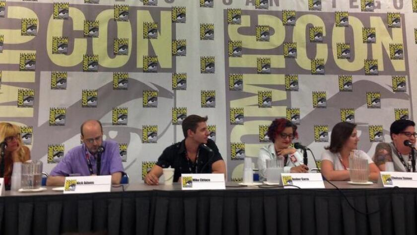 LGBTQ Geek Year in Review Panel on the current state of LGBT media at San Diego Comic-Con 2016. Panelists are (L-R) Diane Anderson-Minshall, Nick Adams, Mike Ciriaco, Amber Garza, Chelsea Steiner and Amelia Vaughn. (/ Daniel Wheaton/San Diego Union-Tribune)