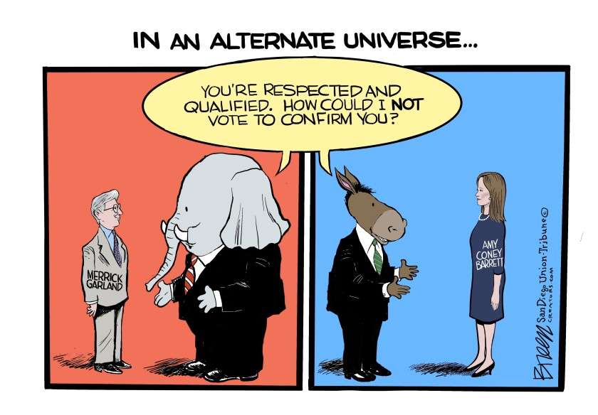In this Breen cartoon, Merrick Garland and Amy Coney Barrett would both be on the Supreme Court in an alternate universe