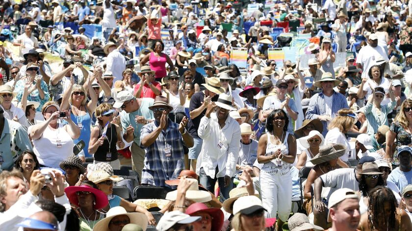 The crowd dances to the music at a past Newport Beach Jazz Festival. The event returns to the Hyatt Regency hotel Friday through Sunday.