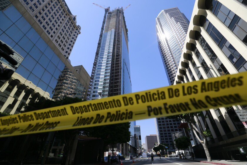 Witness describes moment when worker plummeted to death at Wilshire Grand hotel