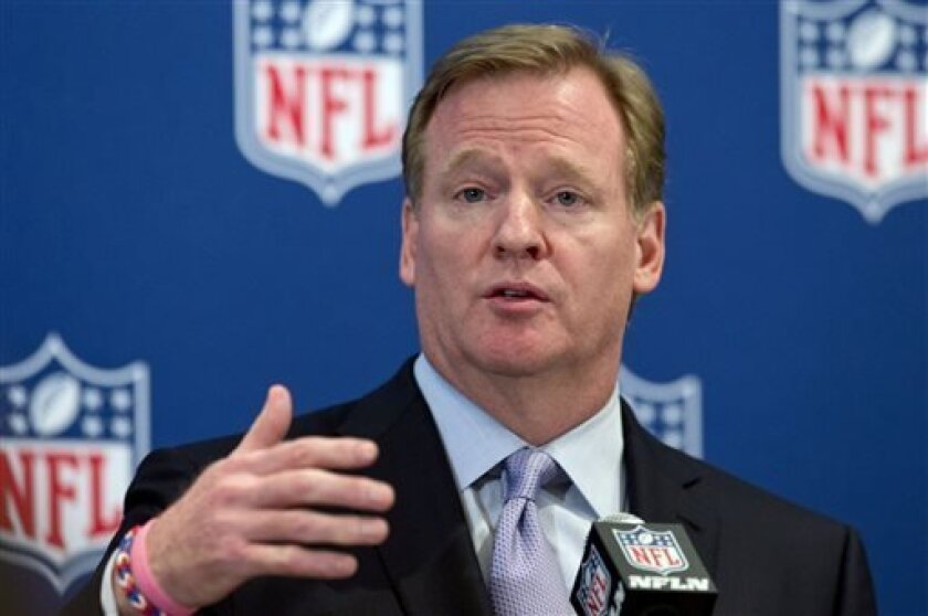 "NFL Commissioner Roger Goodell speaks during a news conference following the NFL owners' fall meeting, in Washington, Tuesday, Oct. 8, 2013, hours before the ""League of Denial"" documentary aired nationally on PBS."