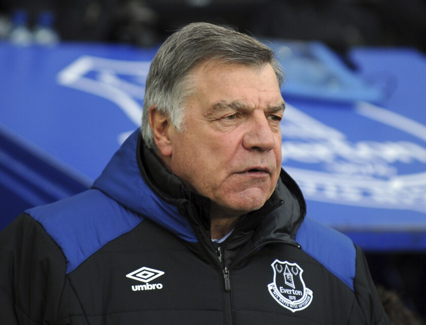 FILE - In this Saturday, March 31, 2018 file photo, Everton manager Sam Allardyce during their English Premier League soccer match against Manchester City at Goodison Park in Liverpool, England. Slaven Bilic has been fired by struggling Premier League team West Bromwich Albion on Wednesday, Dec. 16 2020. He has been replaced by Sam Allardyce. Bilic is the first manager to lose his job this season.(AP Photo/Rui Vieira, file)