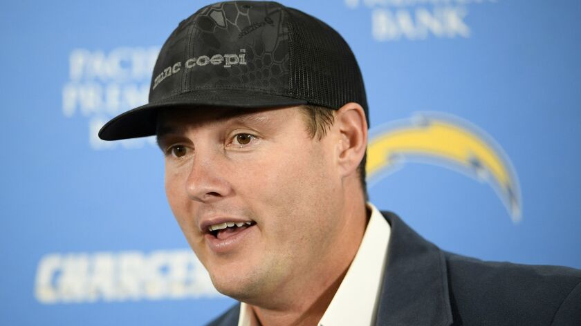 Los Angeles Chargers quarterback Philip Rivers speaks at a news conference after an NFL wild card pl