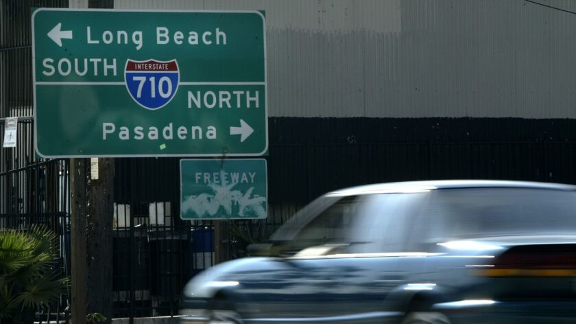 A 710 freeway entrance sign in Monterey Park leads drivers towards Pasadena. Currently the freeway ends at Valley Boulevard in Alhambra, several miles from Pasadena.