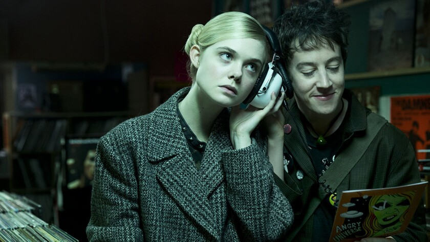 "Elle Fanning and Alex Sharp in the movie ""How to Talk to Girls at Parties."""