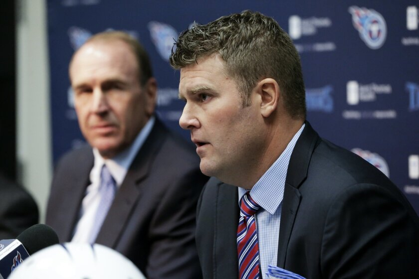 FILE - In this Jan. 18, 2016, file photo, Tennessee Titans general manager Jon Robinson, right, and head coach Mike Mularkey answer questions at a news conference in Nashville, Tenn. Jon Robinson has been very busy since being hired as Tennessee's new general manager. He's had to study the Titans'