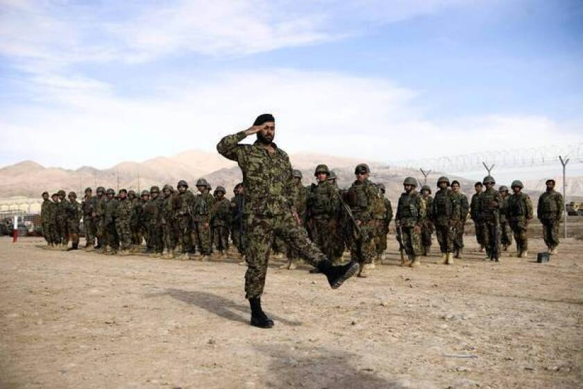 Afghan soldiers in northern Afghanistan. Some Pentagon officials say the U.S. may be able to provide only limited training of Afghan troops after 2014.