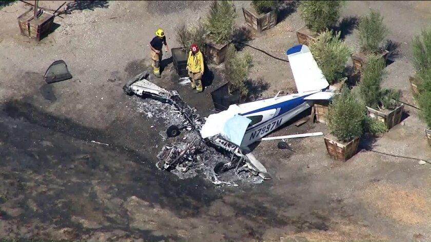 A plane crashed near Brackett Field Airport in La Verne on Oct. 1, 2018. (Credit: KTLA)