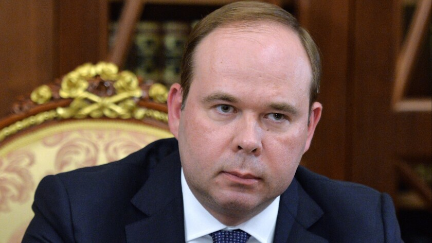 Anton Vayno, new chief of Russia's presidential administration, at a meeting with President Vladimir Putin in the Kremlin in Moscow on Aug. 12, 2016.