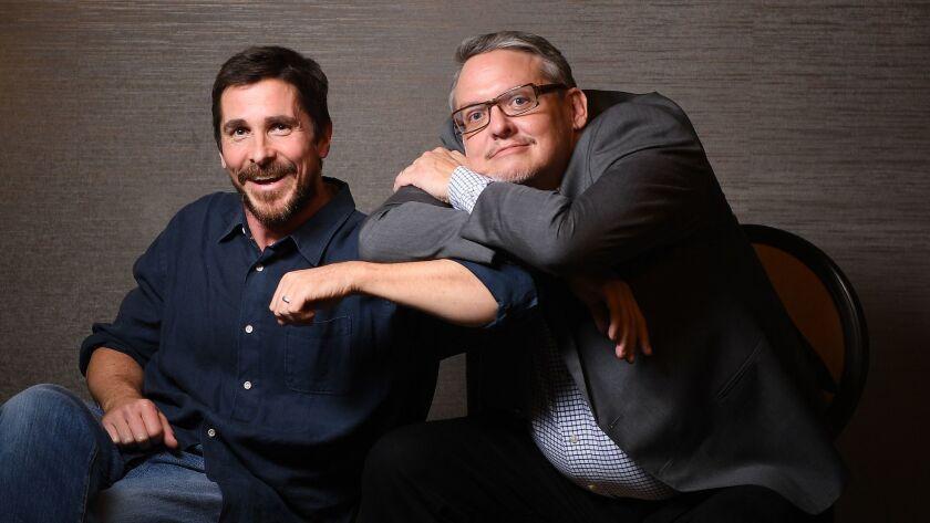 "BEVERLY HILLS, CALIFORNIA DECEMBER 10, 2018-""Vice"" actor Christian Bale, left, and Director Adam McK"