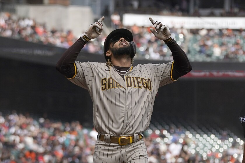 Fernando Tatis Jr. celebrates after hitting a home run against the San Francisco Giants on Thursday at Oracle Park.