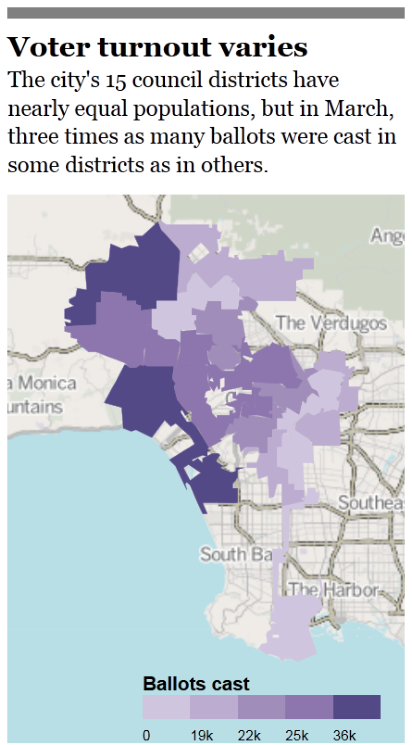 Shading shows voter turnout by city council district in March's primary election.