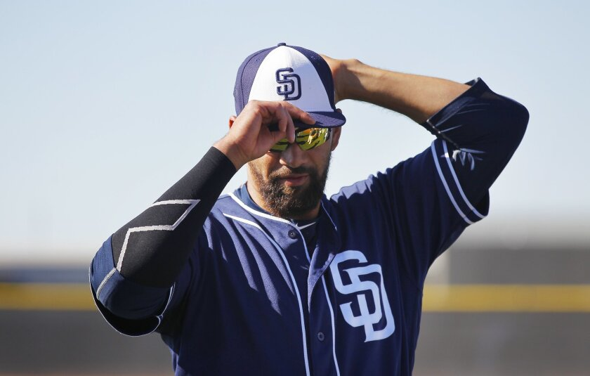 Padres pitcher Tyson Ross walks out to practice at spring training.