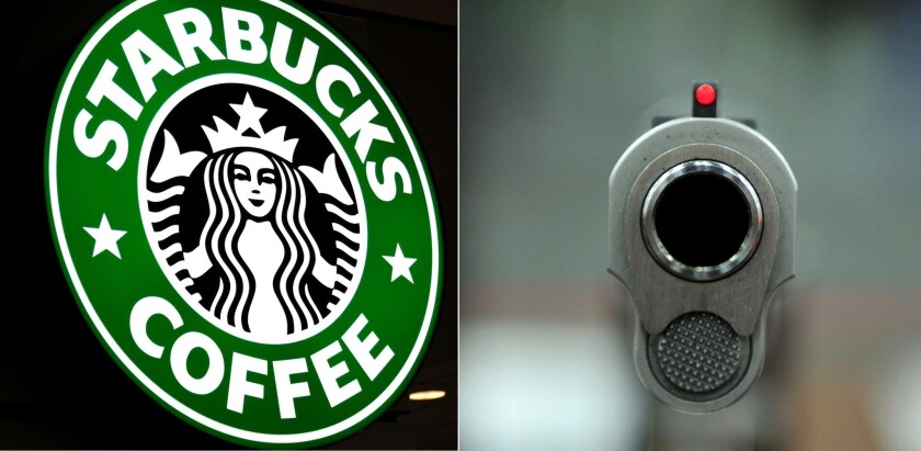 Starbucks is asking customers to refrain from bringing weapons into stores.
