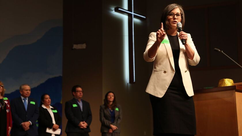 Monica Rodriguez speaks at a candidate forum at All Nations Church.