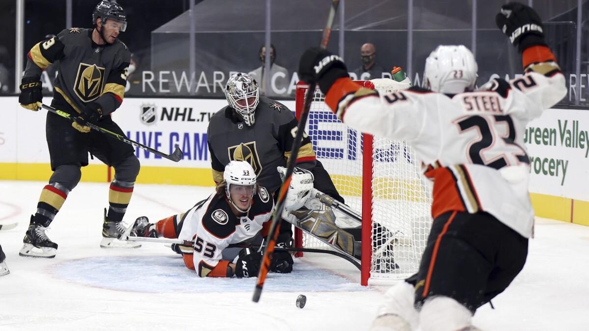 Ducks let Golden Knights break tie in third to fall in season opener - Los Angeles Times