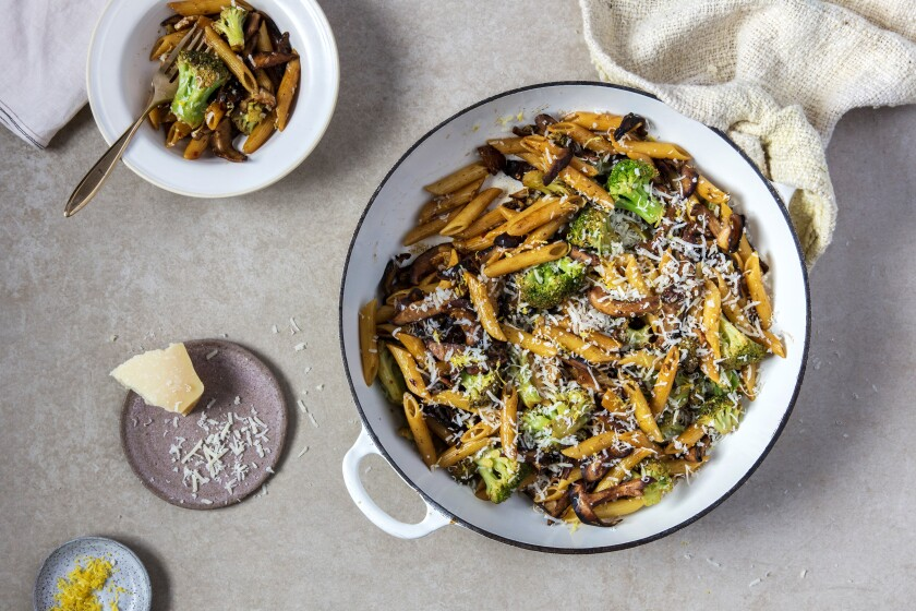 Caramelized Lemon Pasta With Mushrooms and Broccoli