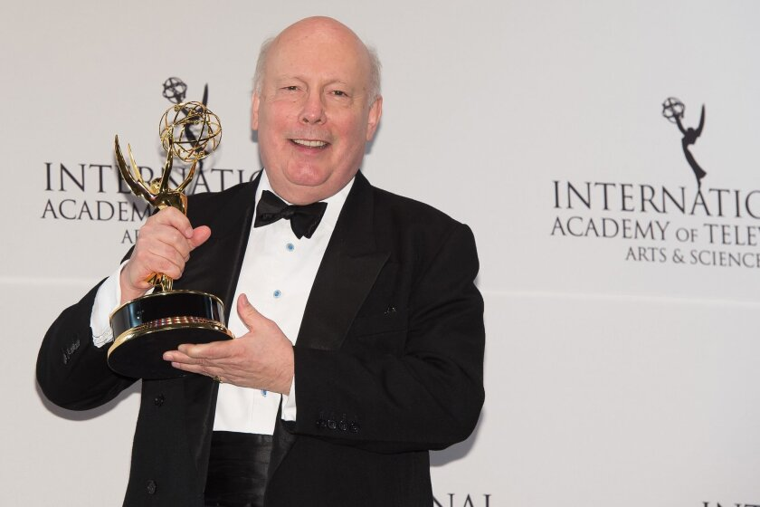 The Founders Award recipient Julian Fellowes poses at the 43rd International Emmy Awards at the New York Hilton Hotel on Monday, Nov. 23, 2015, in New York. (Photo by Charles Sykes/Invision/AP)