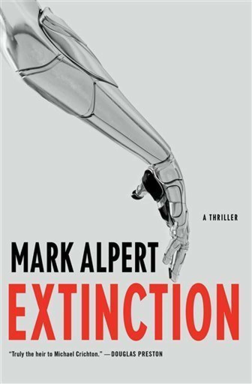 "This publicity photo provided by Thomas Dunne Books shows the cover of the book, ""Extinction,"" by Mark Alpert from Thomas Dunne Books. (AP Photo/Thomas Dunne Books)"