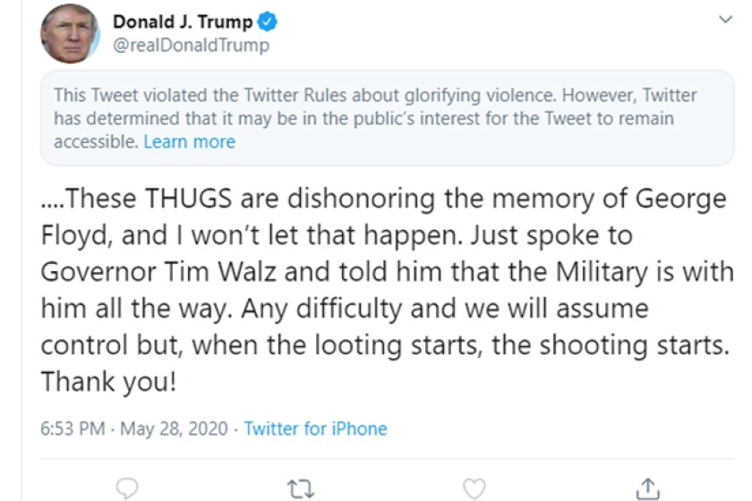 Screen shot of a Trump tweet that was flagged by Twitter.