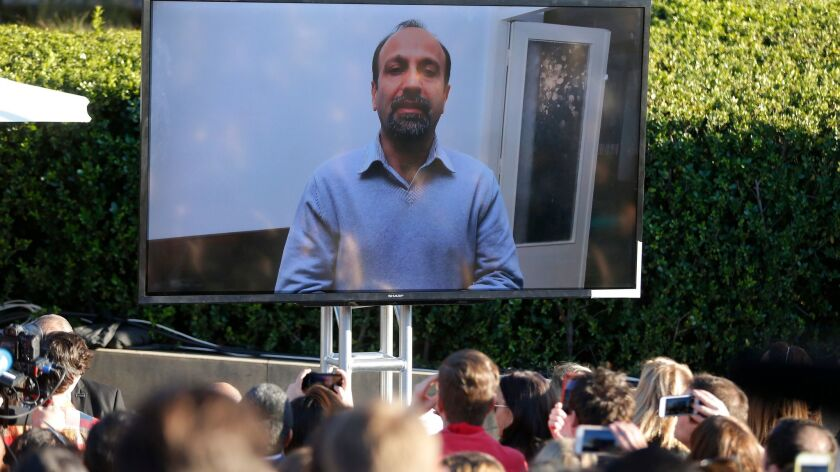 Asghar Farhadi delivers taped remarks from Iran during UTA Rally in Los Angeles.