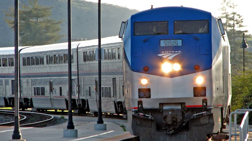 SAN LUIS OBISPO, CA: Amtrak's Coast Starlight at San Luis Obispo, CA station.