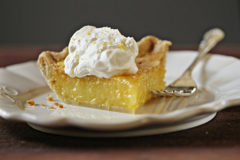 A slice of Leah Chase's  Lemon Chess Pie.