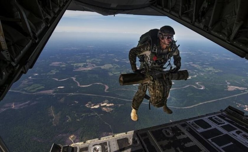A U.S. Air Force combat controller jumps out of an MC-13OJ Combat Shadow II during Emerald Warrior 2015 at Hurlburt Field, Fla., in April. Emerald Warrior is the Department of Defense's only irregular warfare exercise, allowing joint and combined partners to train together.