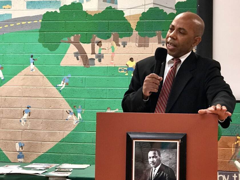Cheadle, speaking at a Martin Luther King Jr. celebration in Redding, says President Trump has done