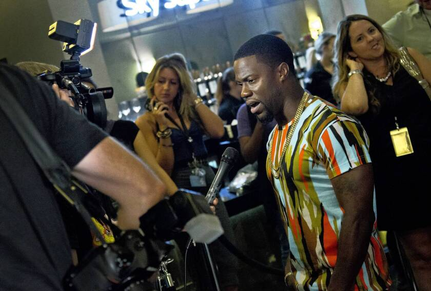 """Kevin Hart talks to gathered media as he attends the UK Premiere of his film """"Kevin Hart: Let Me Explain."""""""