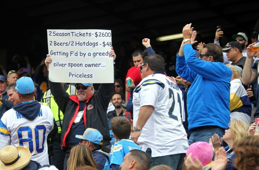San Diego Police officers stand right behind Brent Mote of Burbank, originally of San Diego after some fans complained about his sign which is clearly unfavorable to the Chargers and in particular owner Dean Spanos.  After a discussion, he was allowed to keep his sign.  He is a 45-year-ticket holde
